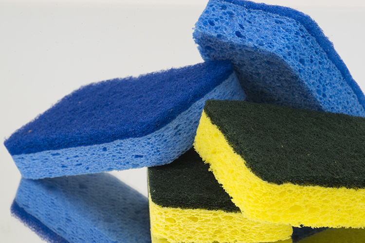 blue and yellow sponges